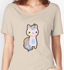 Rainbow Unicorn Cat Women's Relaxed Fit T-Shirt