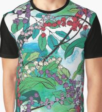 Botanical Style Lily Of The Valley With Watercolor Graphic T-Shirt