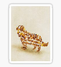 Cavalier King Charles Spaniel Typographic Watercolor Painting Sticker