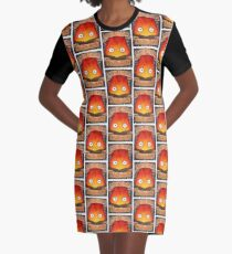 Howl's Moving Castle Illustration - CALCIFER (original)  Graphic T-Shirt Dress