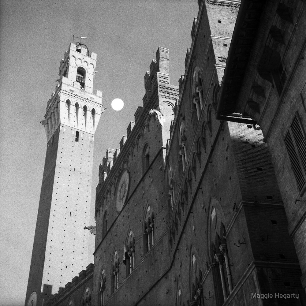 Rising moon, Torre del Mangia, Siena by Maggie Hegarty