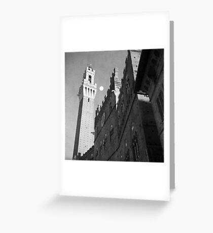 Rising moon, Torre del Mangia, Siena Greeting Card