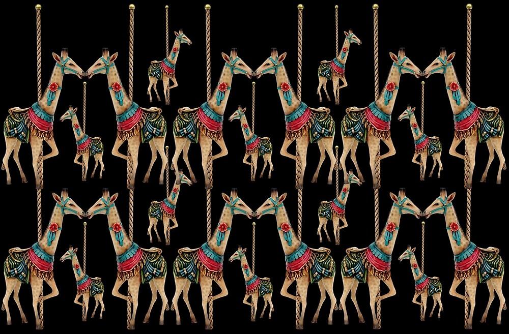 Prancing carousel giraffes black by BURPdesigns
