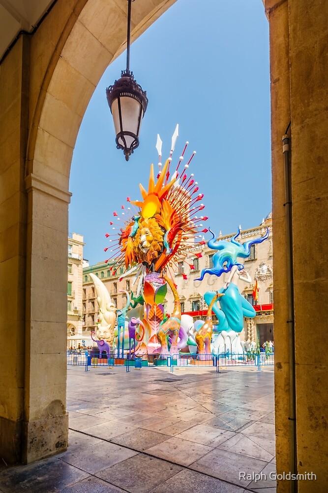 Hogueras through an arch - Alicante by Ralph Goldsmith