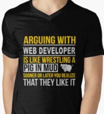 WEB DEVELOPER ARGUE WITH NICE DESIGN Men's V-Neck T-Shirt