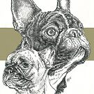 French Bulldog Father & Son by BarbBarcikKeith