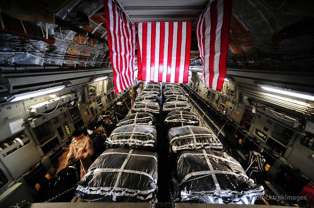 Pallets of cargo inside of a C-17 Globemaster III. by StocktrekImages
