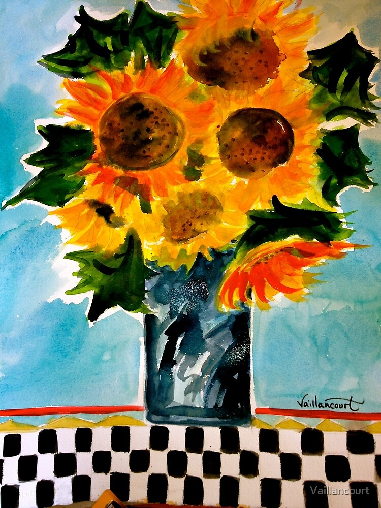 Sunflowers and checked tablecloth by Vaillancourt