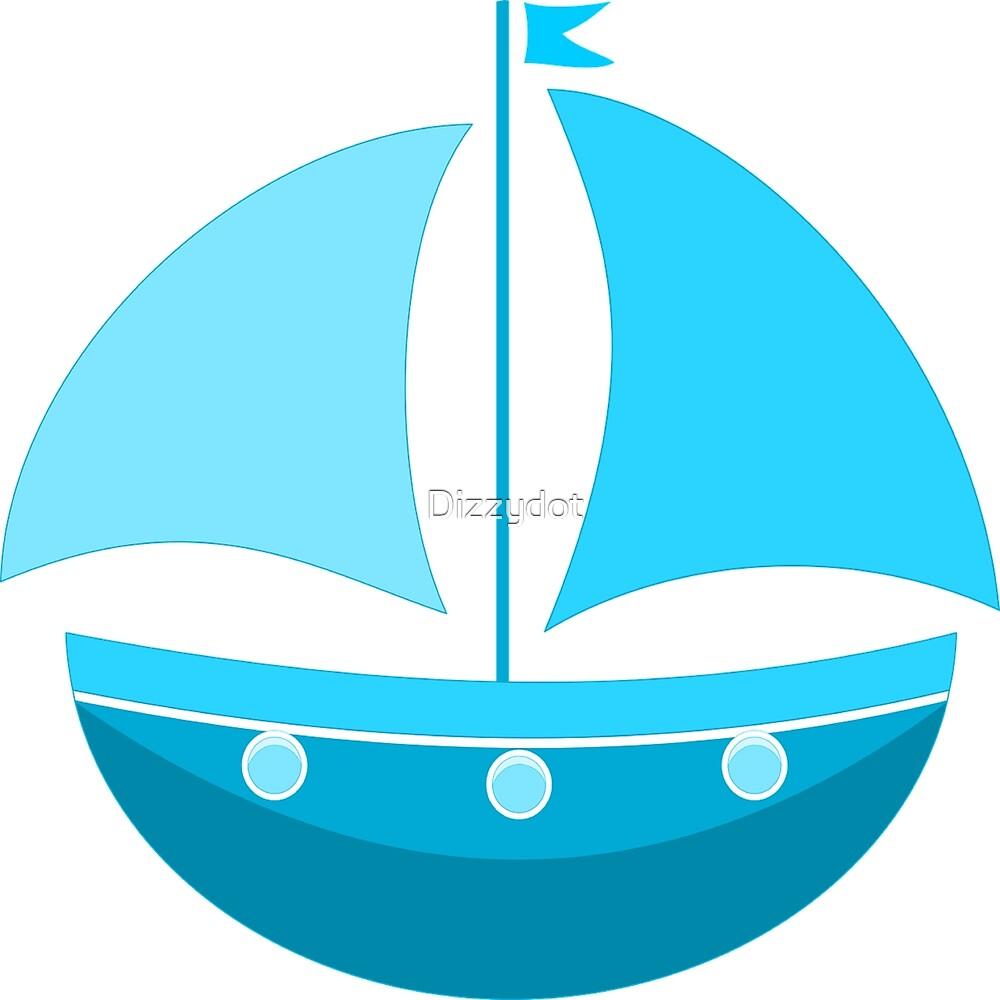 Blue Sailing Boat  by Dizzydot