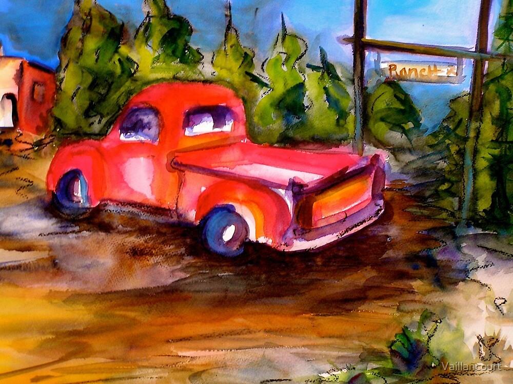 Pink Truck at the Ranch by Vaillancourt