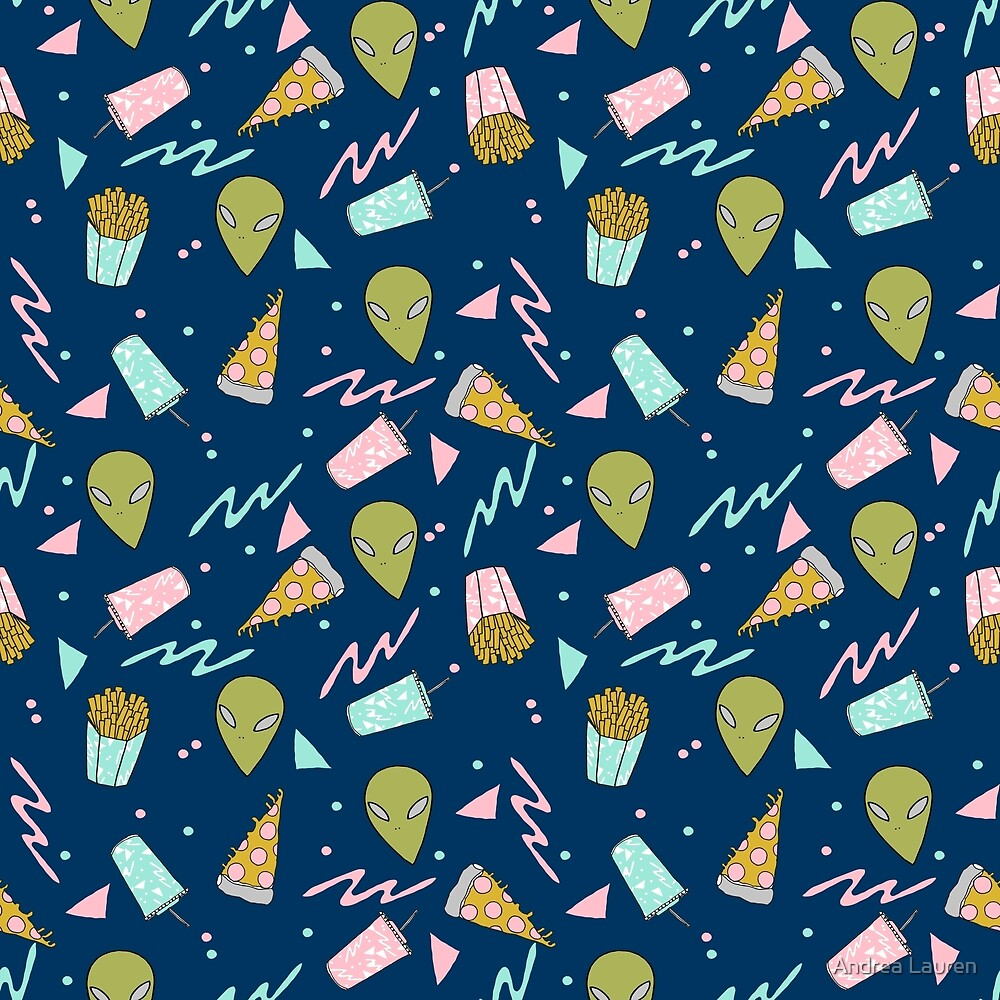 Alien outer space cute aliens french fries rad sodas pattern print by Andrea Lauren