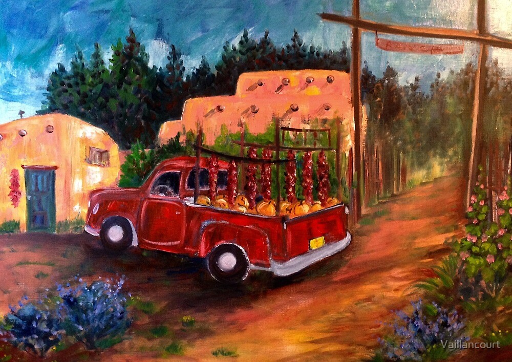 Red Truck with Ristras and Pumpkins by Vaillancourt