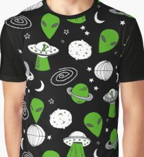 Alien outer space cute aliens french fries rad sodas pattern print mint Graphic T-Shirt