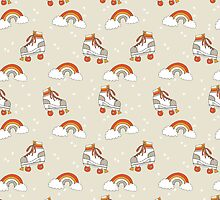 Rollerskates nostalgia pattern print cute 80s rainbows retro style by andrea lauren by Andrea Lauren