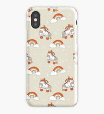 Rollerskates nostalgia pattern print cute 80s rainbows retro style by andrea lauren iPhone Case/Skin
