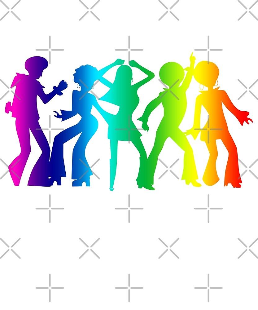 Vintage Retro 1970s Rainbow Disco Dancers Pride Graphic by JapaneseInkArt