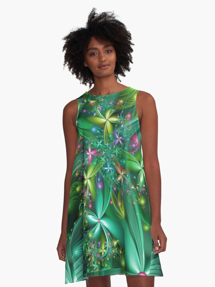 Spring Flowers A-Line Dress Front