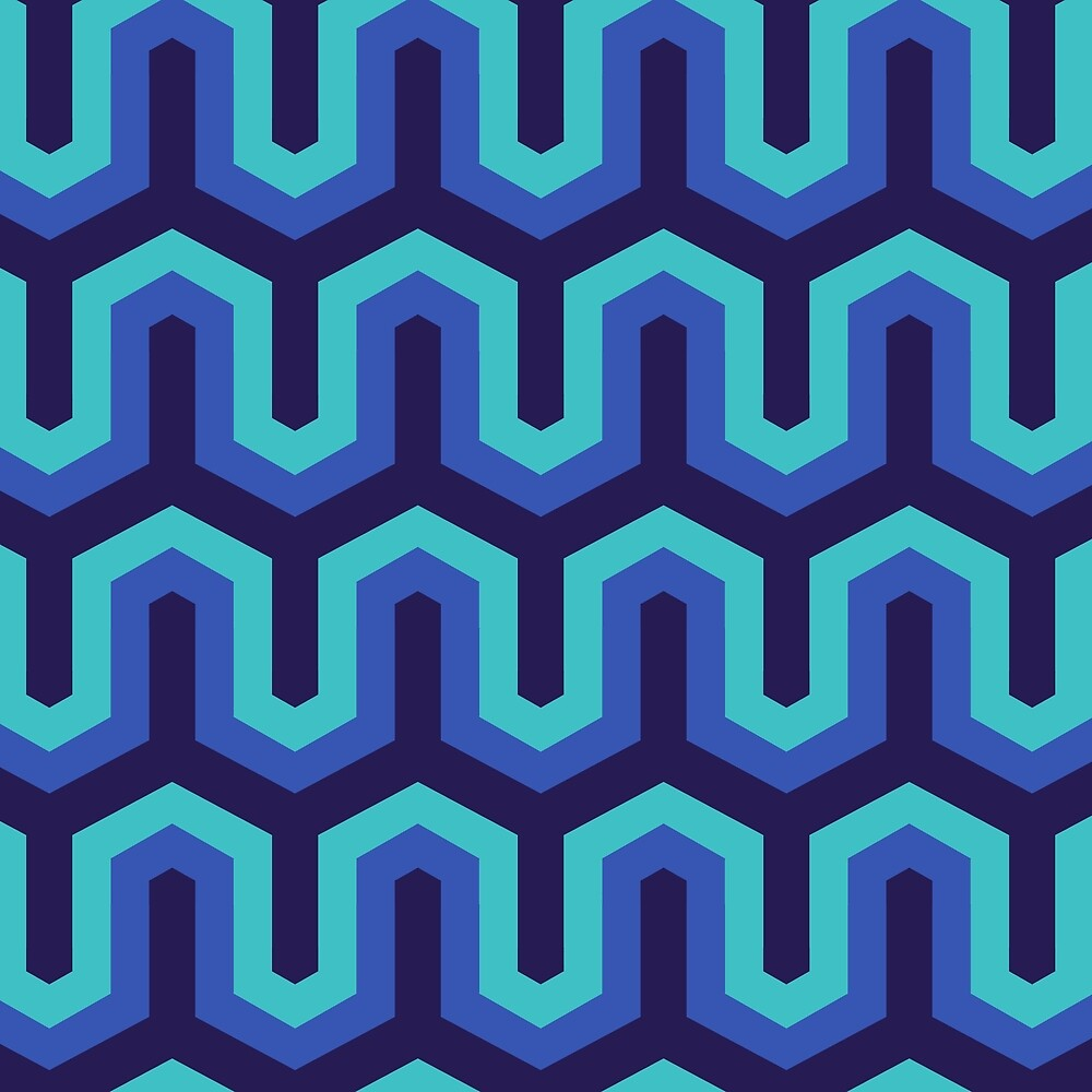 Blue Geo Pattern by roseglasses