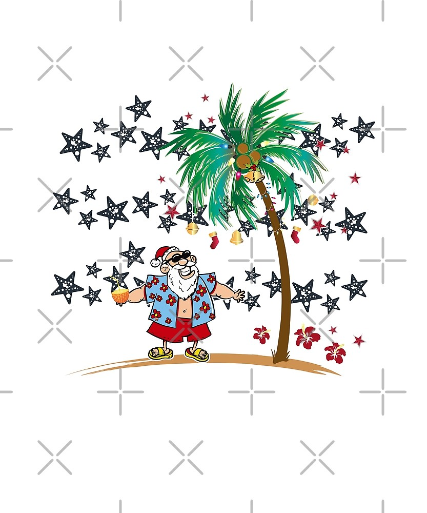 Christmas In July Funny Santa Claus Tropical Beach by JapaneseInkArt