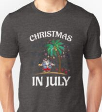 Christmas In July Funny Santa Claus Tropical Beach T-Shirt