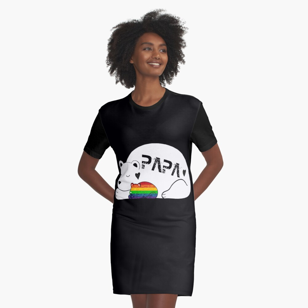 PAPA LGBT Son's T Shirt Gift Father's Day Tee Men Graphic T-Shirt Dress Front