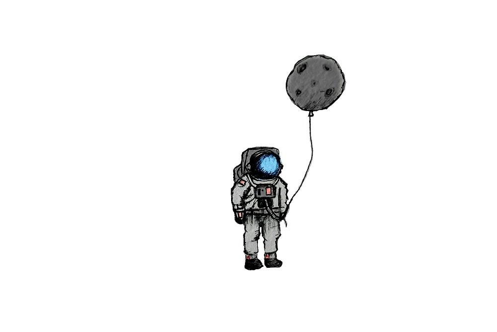 Moon Balloon  by laurenartdesign