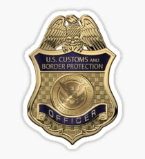 U.S. Customs and Border Protection - CBP Officer Badge over White Leather Sticker