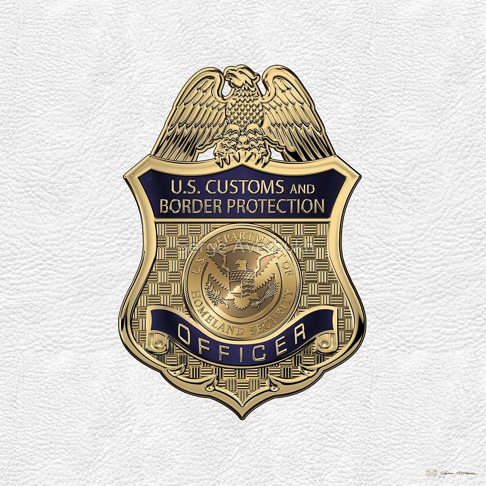 U.S. Customs and Border Protection - CBP Officer Badge over White Leather by Serge Averbukh