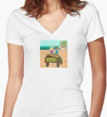 Viaje tropical. Women's Fitted V-Neck T-Shirt