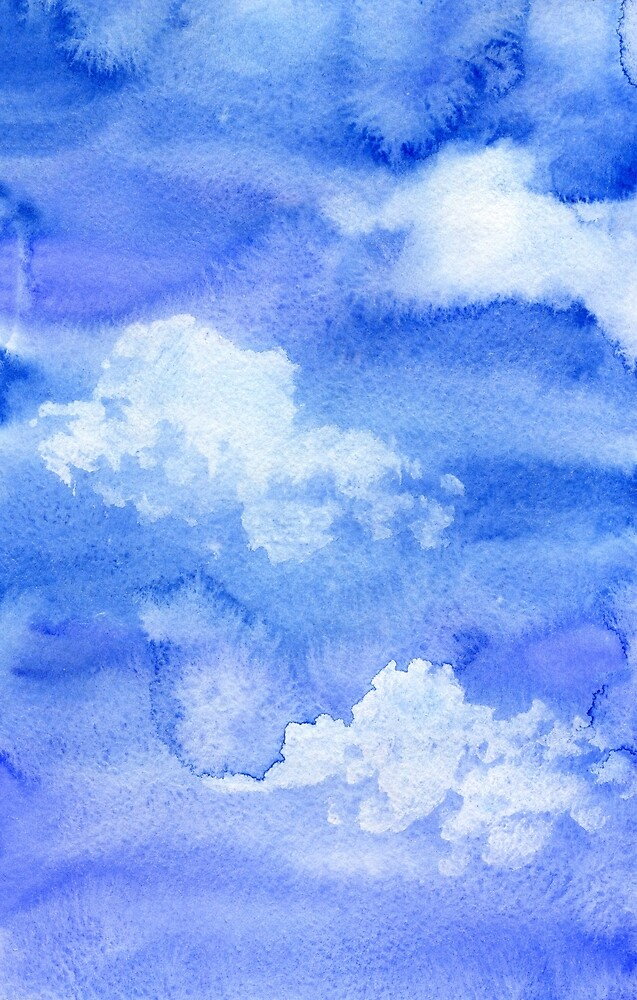 Hand painted watercolor sky and clouds, abstract watercolor background by NataliMya