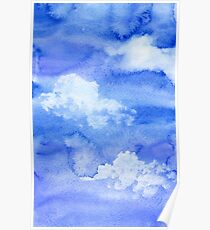 Hand painted watercolor sky and clouds, abstract watercolor background Poster