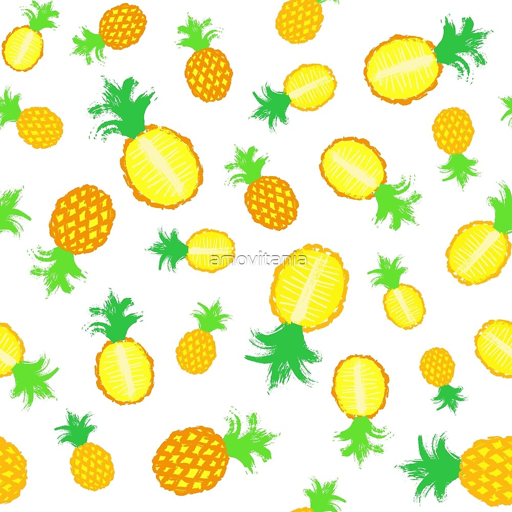 Pineapple Background Painted Pattern by amovitania