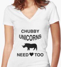 Funny Meme T-Shirt - Chubby Unicorns Need Love Too Women's Fitted V-Neck T-Shirt