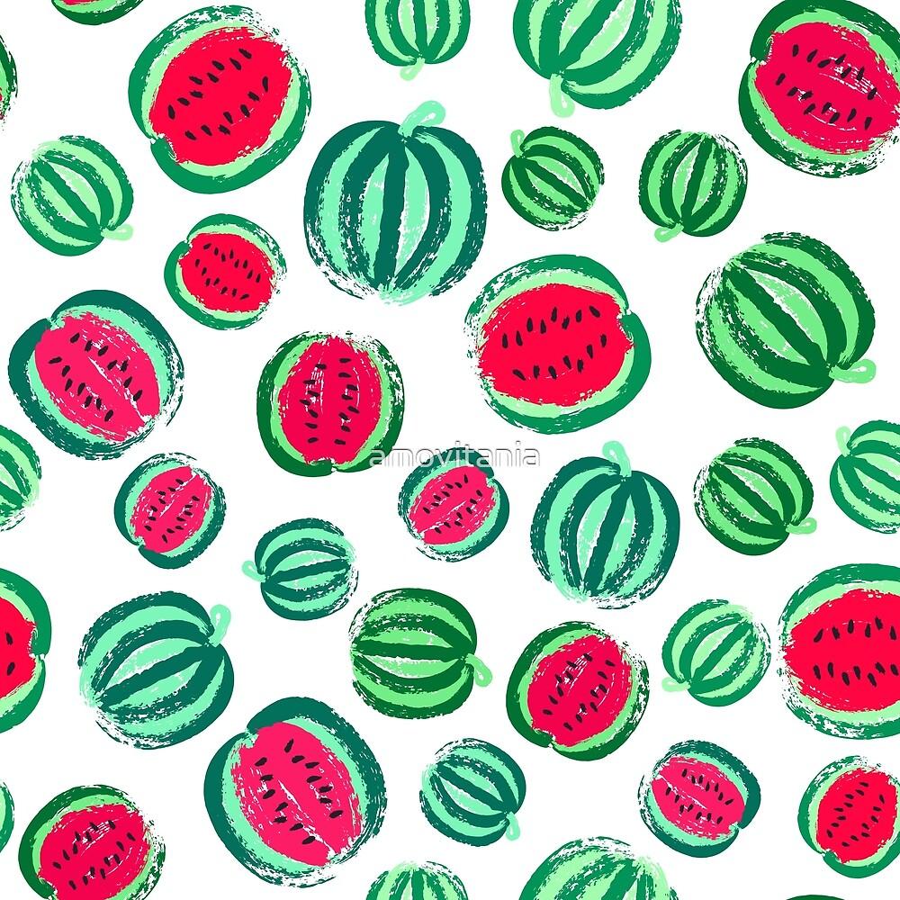 Watermelon Background Painted Pattern by amovitania