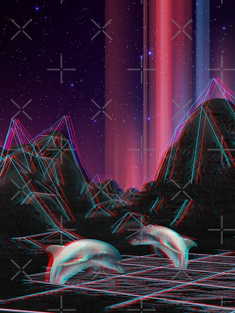 80s Vaporwave Retro Dolphins Anaglyph  by XOXOX