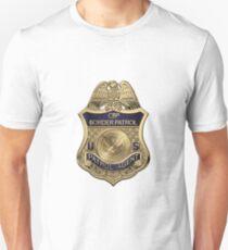 United States Border Patrol - USBP Patrol Agent Badge over White Leather Unisex T-Shirt