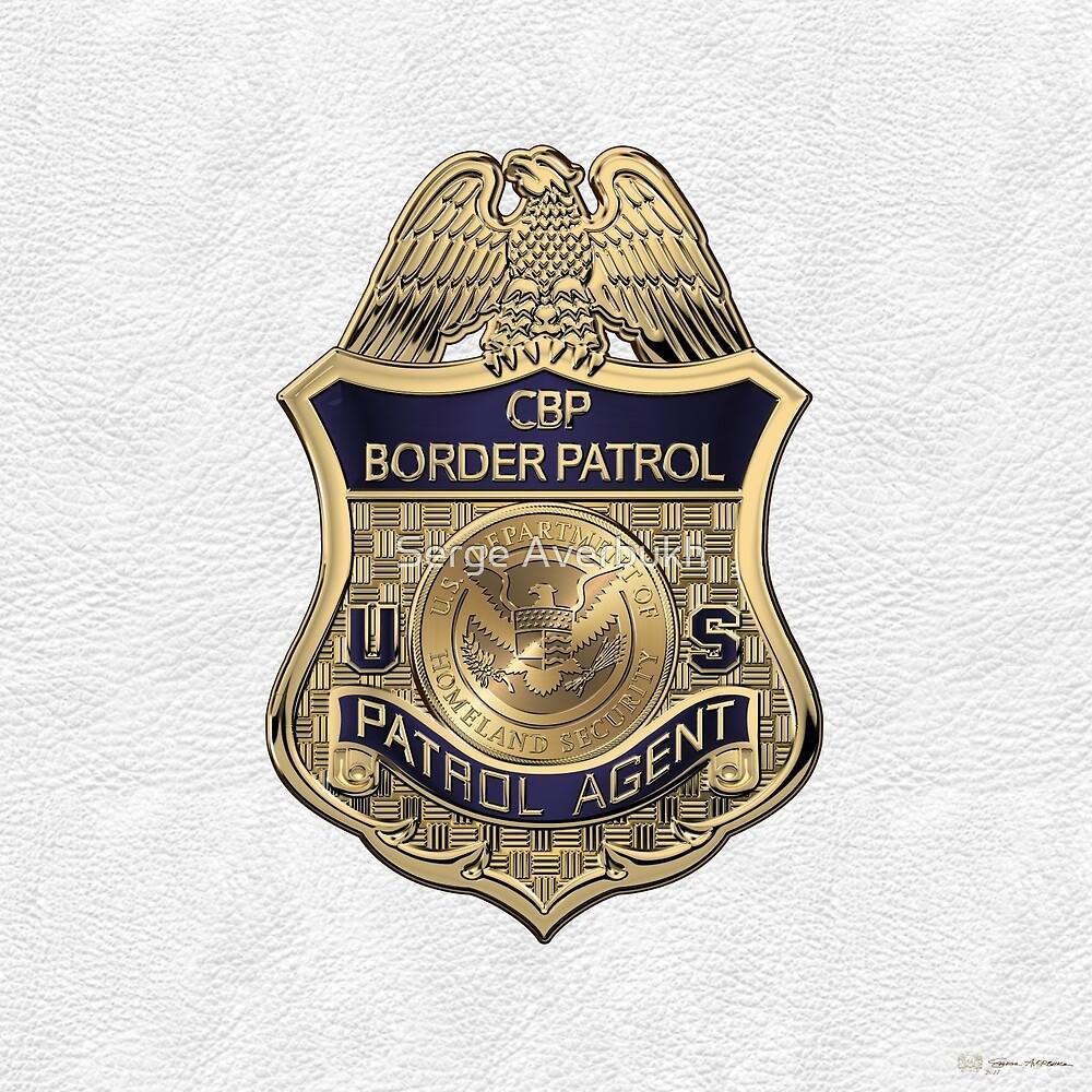 United States Border Patrol - USBP Patrol Agent Badge over White Leather by Serge Averbukh