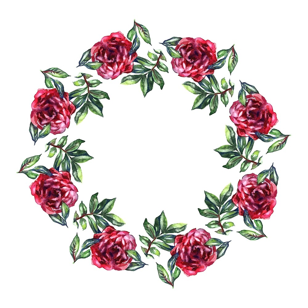 Rose flower wreath. Floral circle border. Watercolor on white by NataliMya