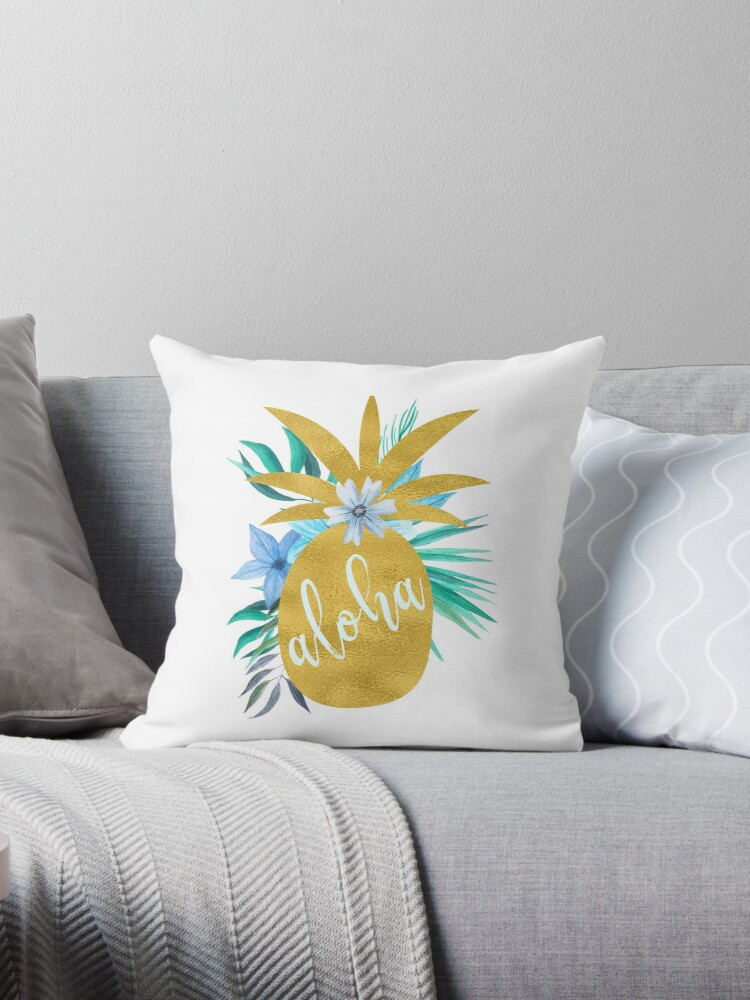 Aloha script tropical blue flowers and gold pineapple  by ankka