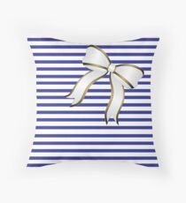 Blue Stripes White Bow Throw Pillow