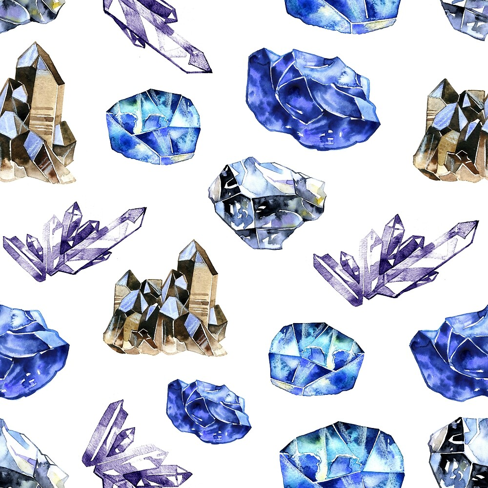 Watercolor crystals gems. Hand drawn seamless pattern by NataliMya