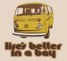 Volkswagen Kombi Tee shirt - Life's Better in a Bay - Yellow by KombiNation
