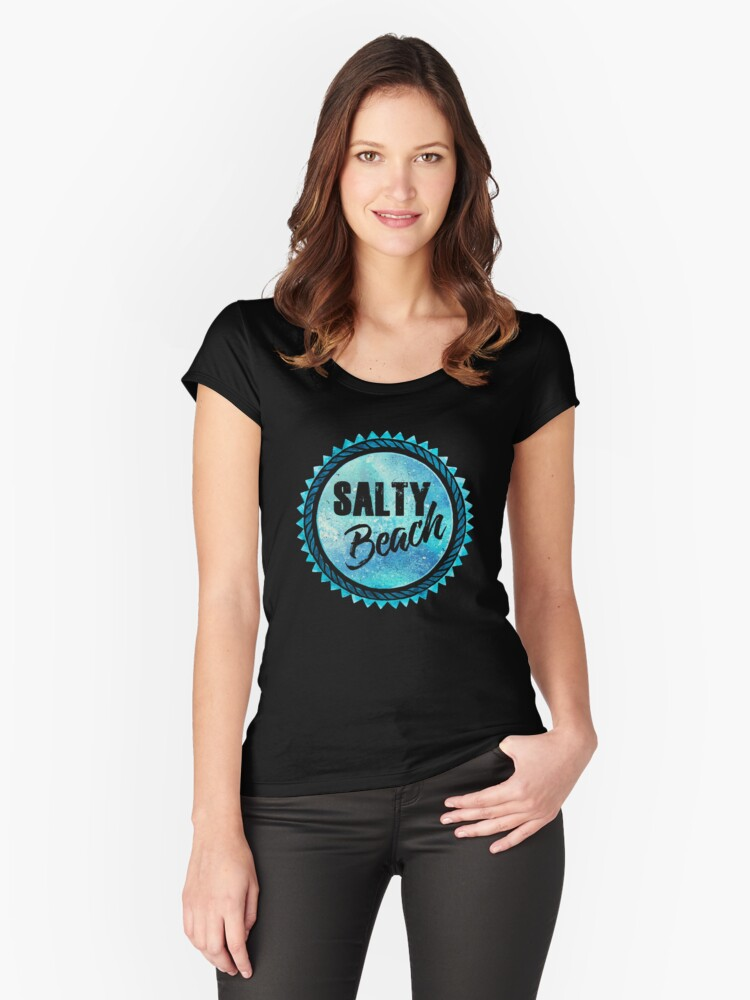 Salty Beach Women's Fitted Scoop T-Shirt Front
