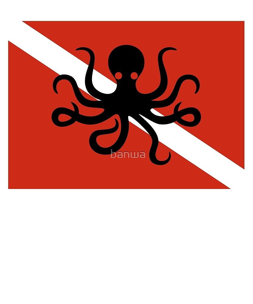 Octopus Scuba Diving Dive Flag by banwa