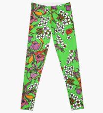 Bright Green Balenciaga Floral  Leggings