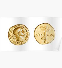 The Emperor and Nike. Roman gold coin  Poster