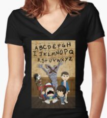 Stranger Things cartoon mash up Women's Fitted V-Neck T-Shirt