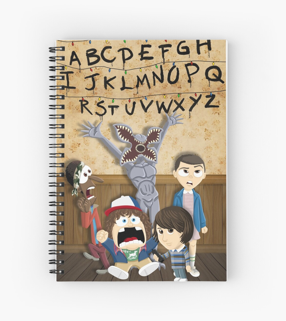 Stranger Things Cartoon Mash Up Spiral Notebooks By Bovaart Redbubble