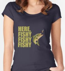 Fishing Angling Funny Design - Here Fishy Fishy Fishy  Women's Fitted Scoop T-Shirt