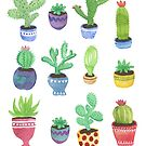 Cactus + Succulent Watercolor by latheandquill